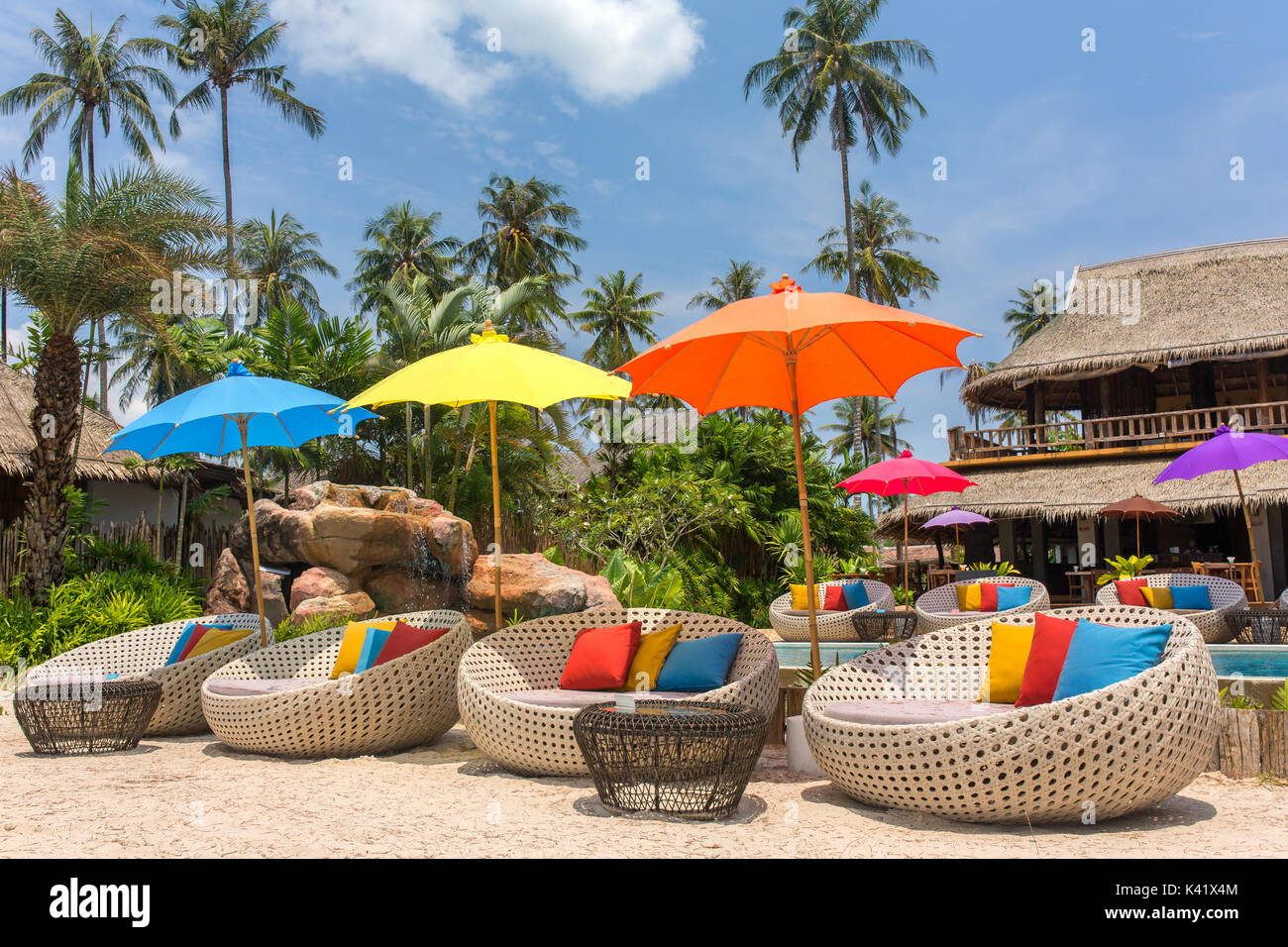 Tropical resort with a swimming pool and cafe bar on Koh Kood island, thailand - Stock Image