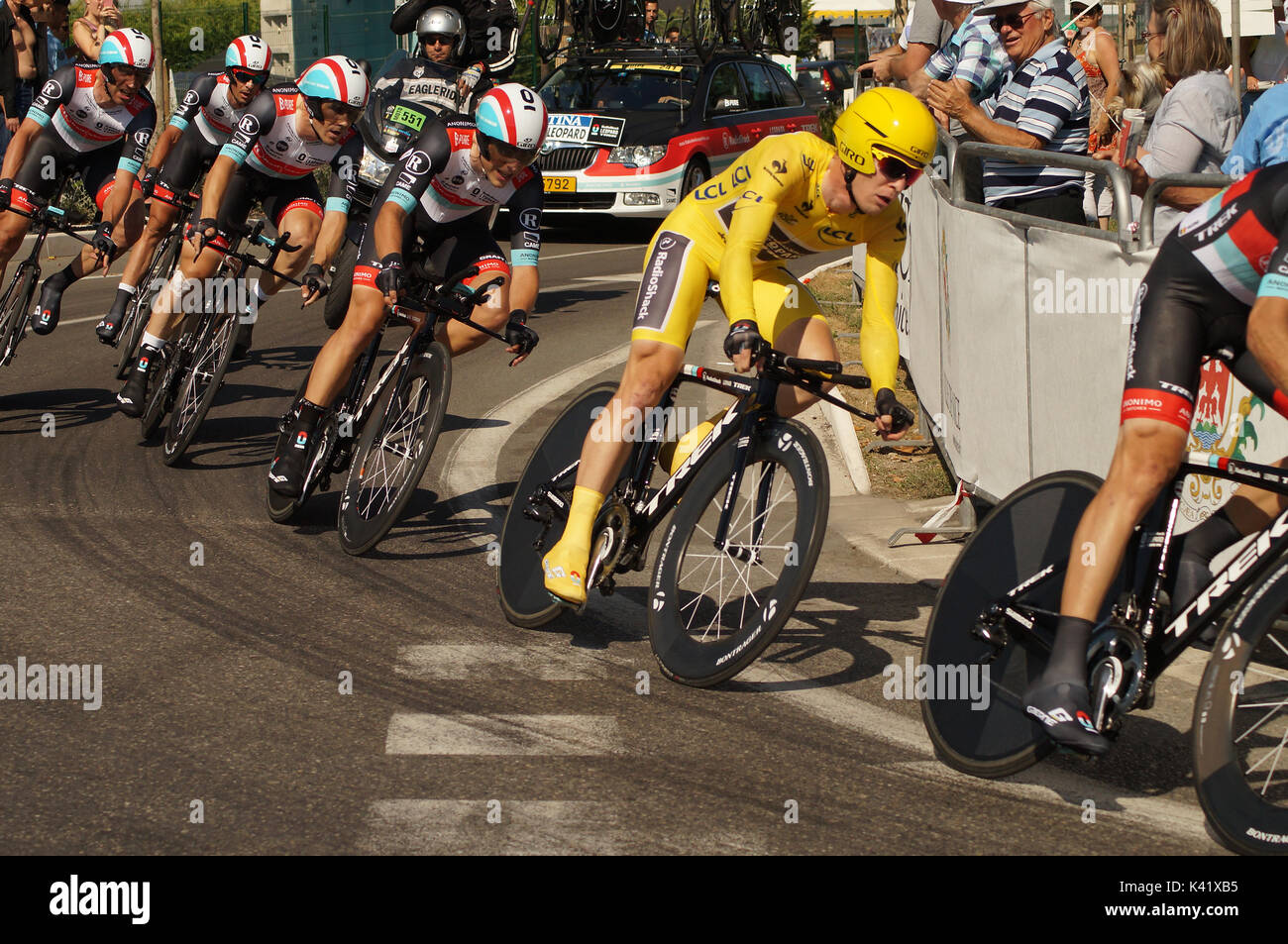 NICE - JULY 2ND : The TOUR 2013  (Tour de France)  RadioShack Leopard Team during Nice/Nice Stage 4 (25 km) Bakelants Jan in Yellow - Stock Image