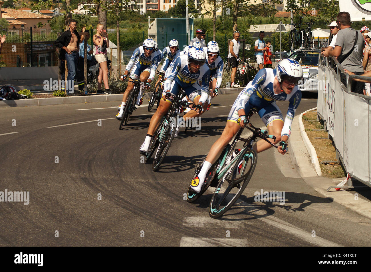 NICE - JULY 2ND : The TOUR 2013  (Tour de France) .Vacansoleil-DCM pro Cycling Team during Nice to Nice Stage 4 (25 km)... - Stock Image