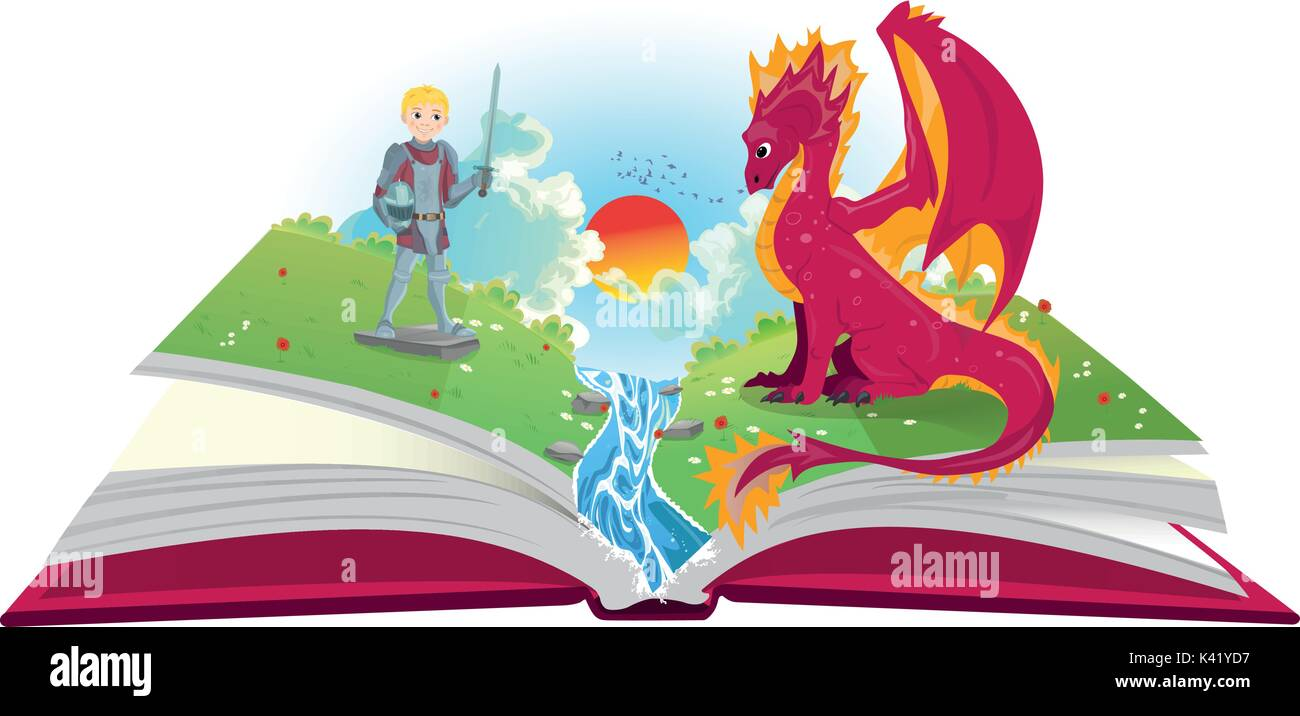 Book of fairytales with knight and dragon illustration - Stock Vector