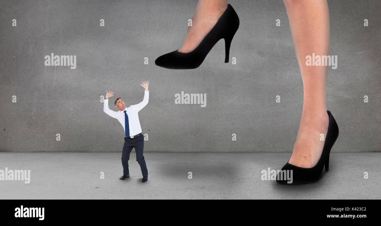 Woman Stepping On Man Big Woman Shoe Steppin...