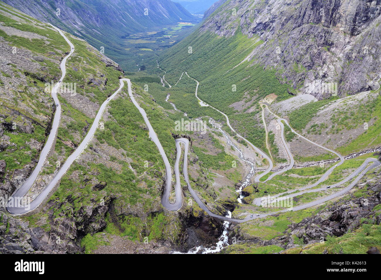 Mountain pass road Trollstigen in Andalsnes, More og Romsdal, Norway, Scandinavia, Europe - Stock Image