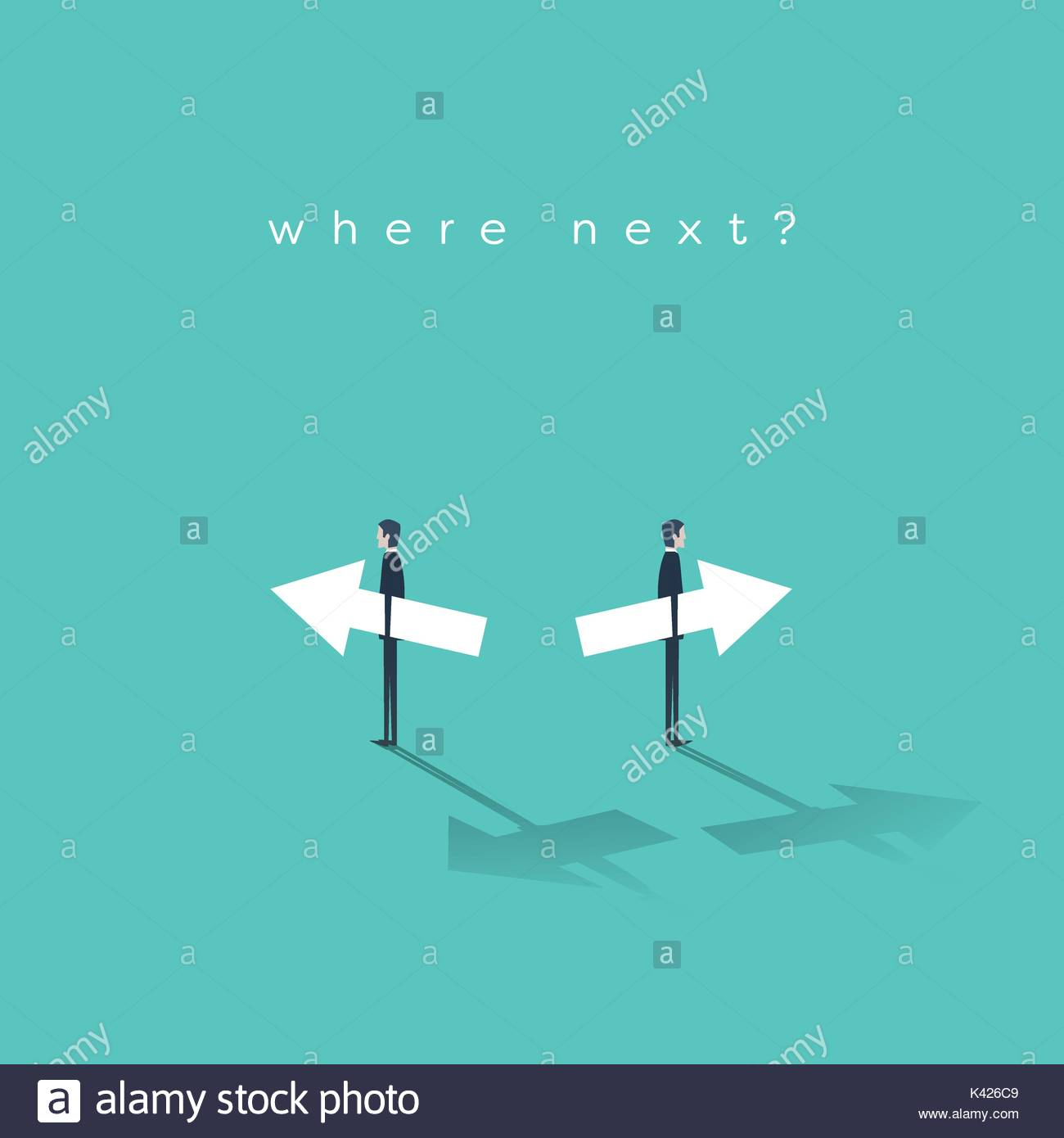 Business decision, choice, strategy, direction vector concept. Two businessman holding arrows in opposite directions. - Stock Image
