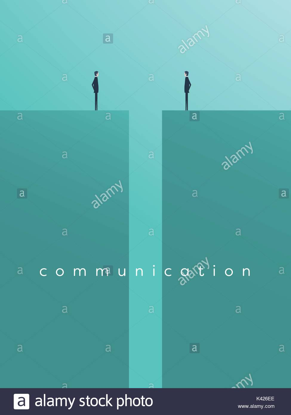Business comunication or negotiation problems, issues. Two businessmen icons with gap between them. - Stock Vector
