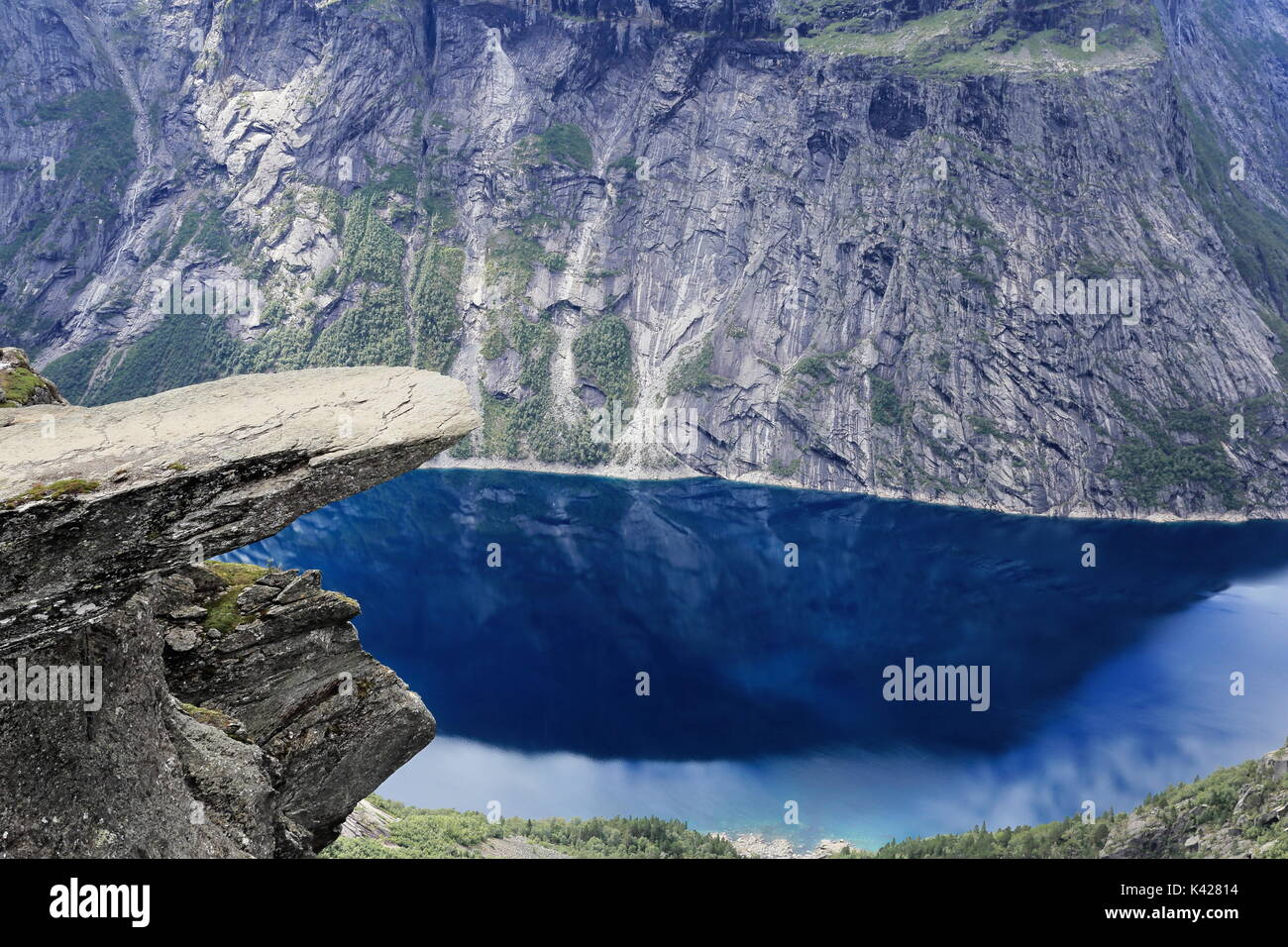 Trolltunga rock formation in Norway - Stock Image