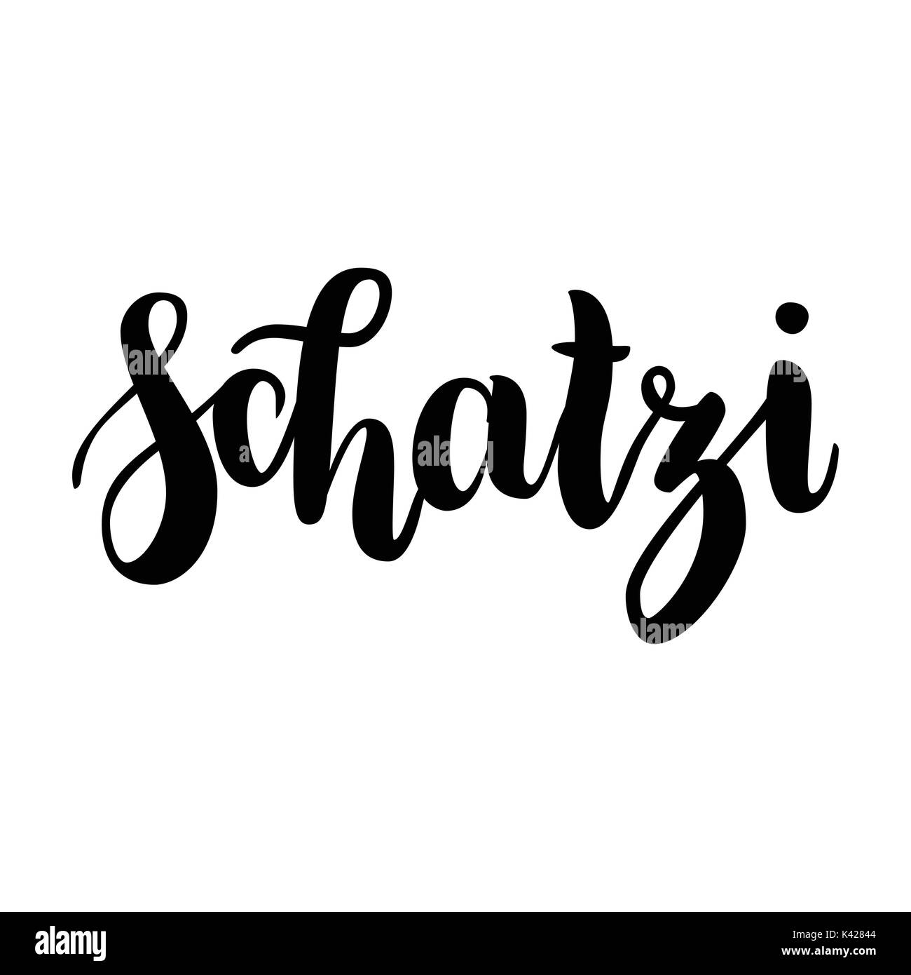 schatzi - sweetheart in German. Happy Valentines day card, Hand-written lettering isolated on white. Vector illustration. - Stock Image