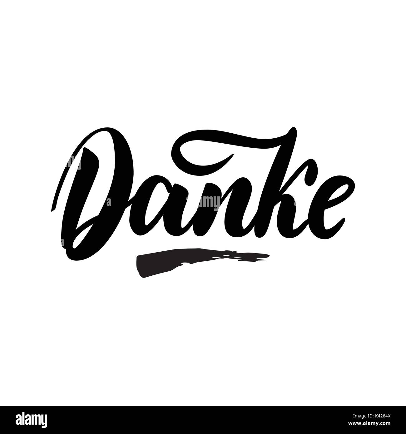 Thank you in German. Vector calligraphy. Danke poster or card. Grey Letters on the White Background. Hand-drawn Stock Vector