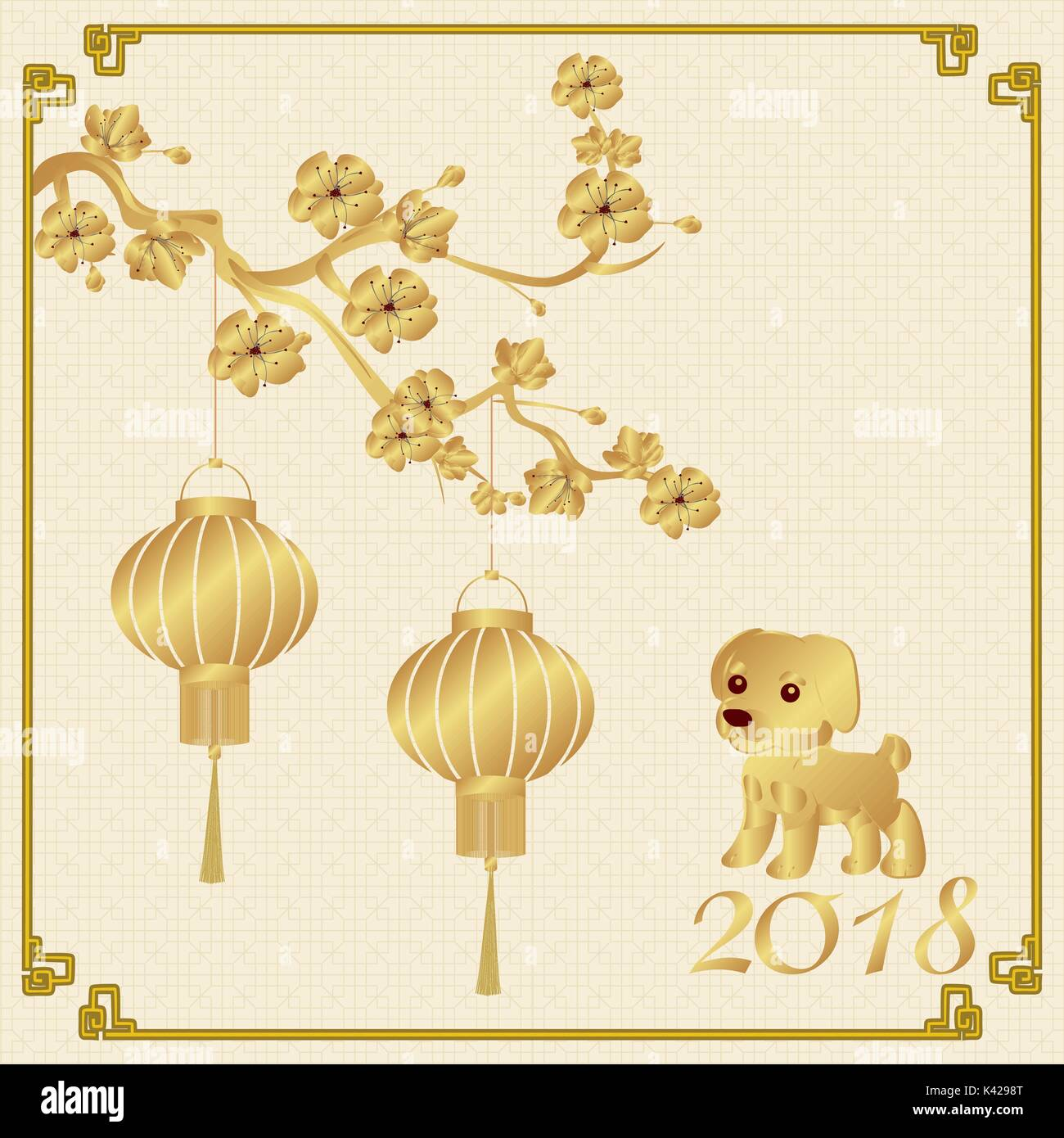 chinese new year 2018 year of the dog stylized under bronze chinese lanterns on a cherry branch background for the paper illustration