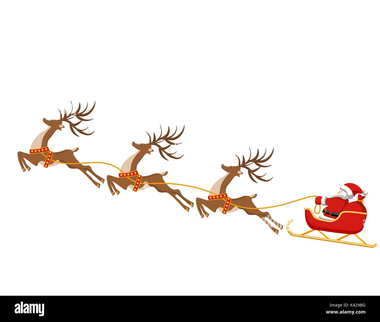 new year christmas drawing of deer and sleigh of santa claus in stock vector image art alamy https www alamy com new year christmas drawing of deer and sleigh of santa claus in color image157403220 html