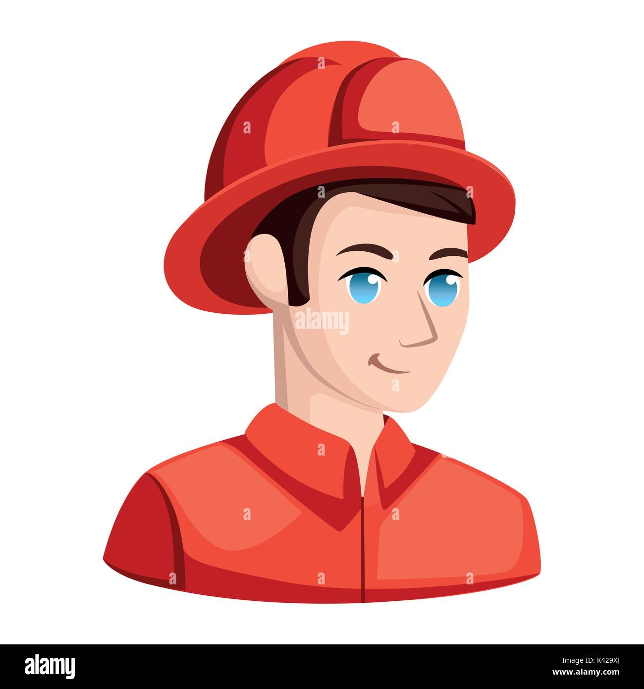 Fireman in helmet near hydrant spraying water. Rescue man in uniform and helmet at front of town or city. Person with extinguisher, hero character wit - Stock Image