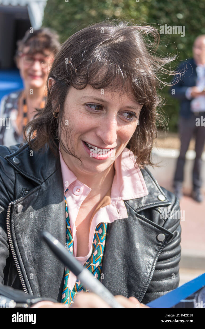 Eliza Hittman, director of Beach Rats and Sundance prizewinner, signing autographs during the 43rd Deauville American Film festival, on September 2, 2 - Stock Image