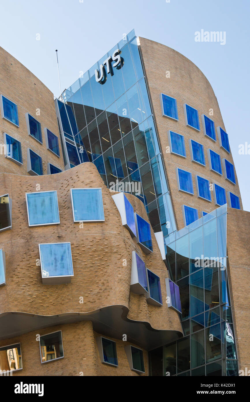 The first building in Australia designed by one of the worlds most influential architects Frank Gehry. Its named after Dr Chau Chak Wing and described - Stock Image