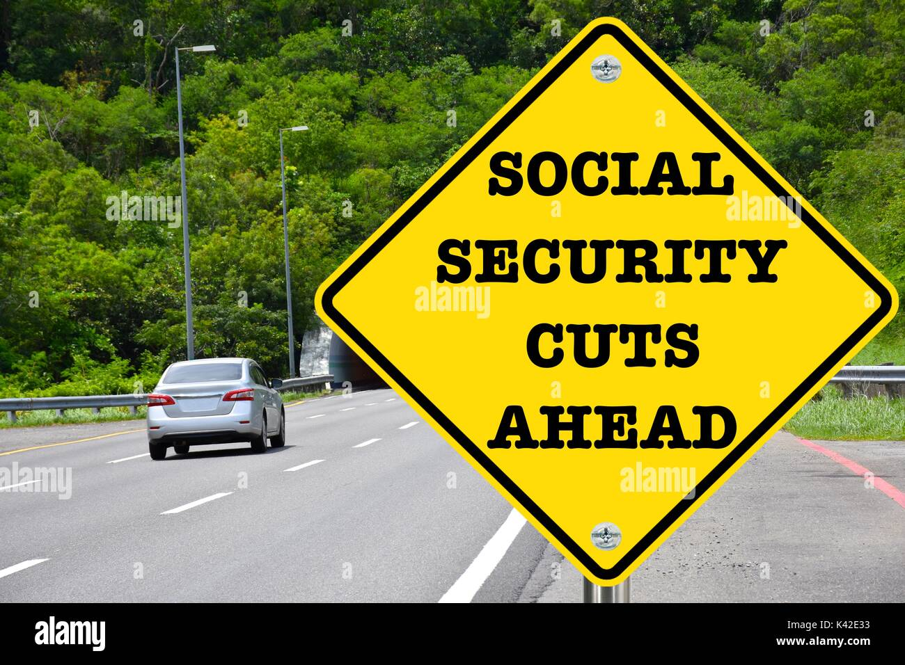Social Security Cuts Ahead, yellow warning road sign - Stock Image