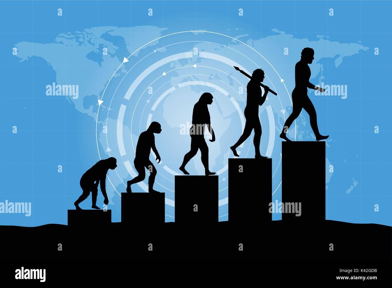 Human evolution into the present digital world. Business risk concept! - Stock Image