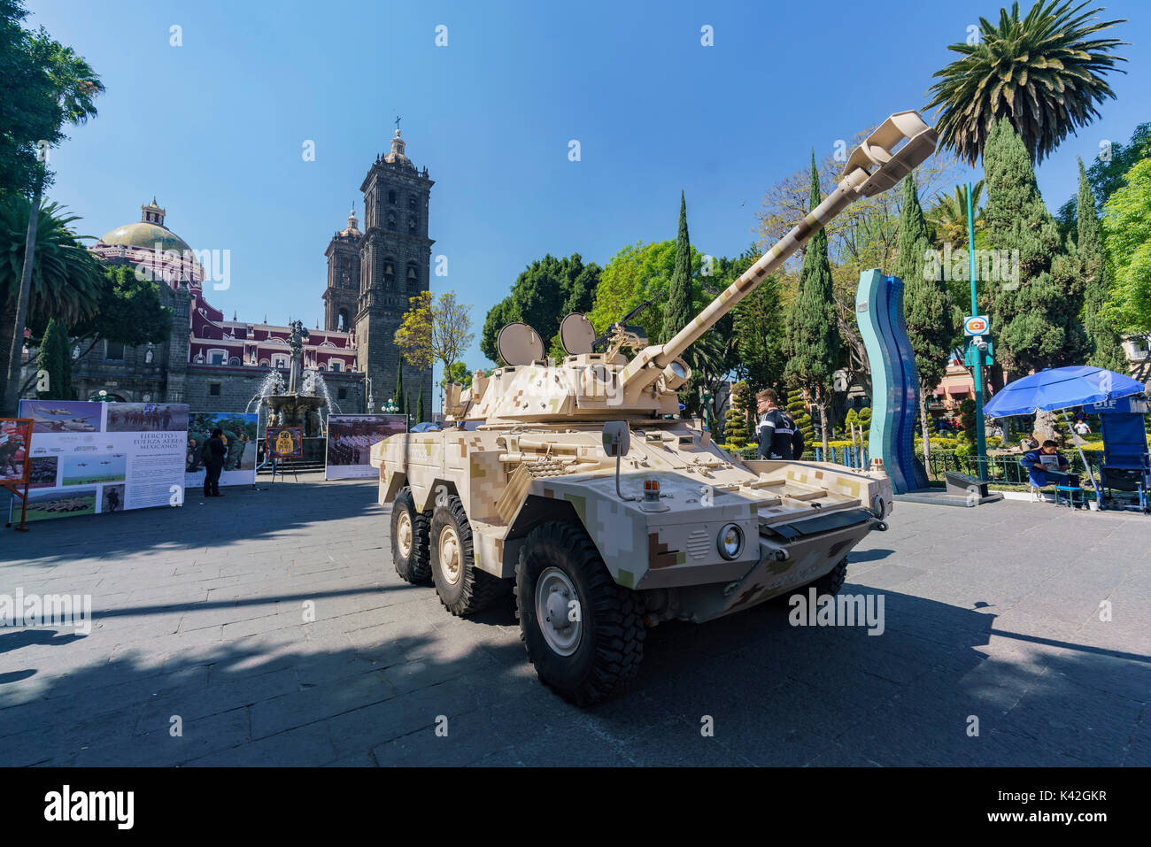 Puebla, FEB 18: Military show on FEB 18, 2017 at Zocalo, Puebla, Mexico Stock Photo