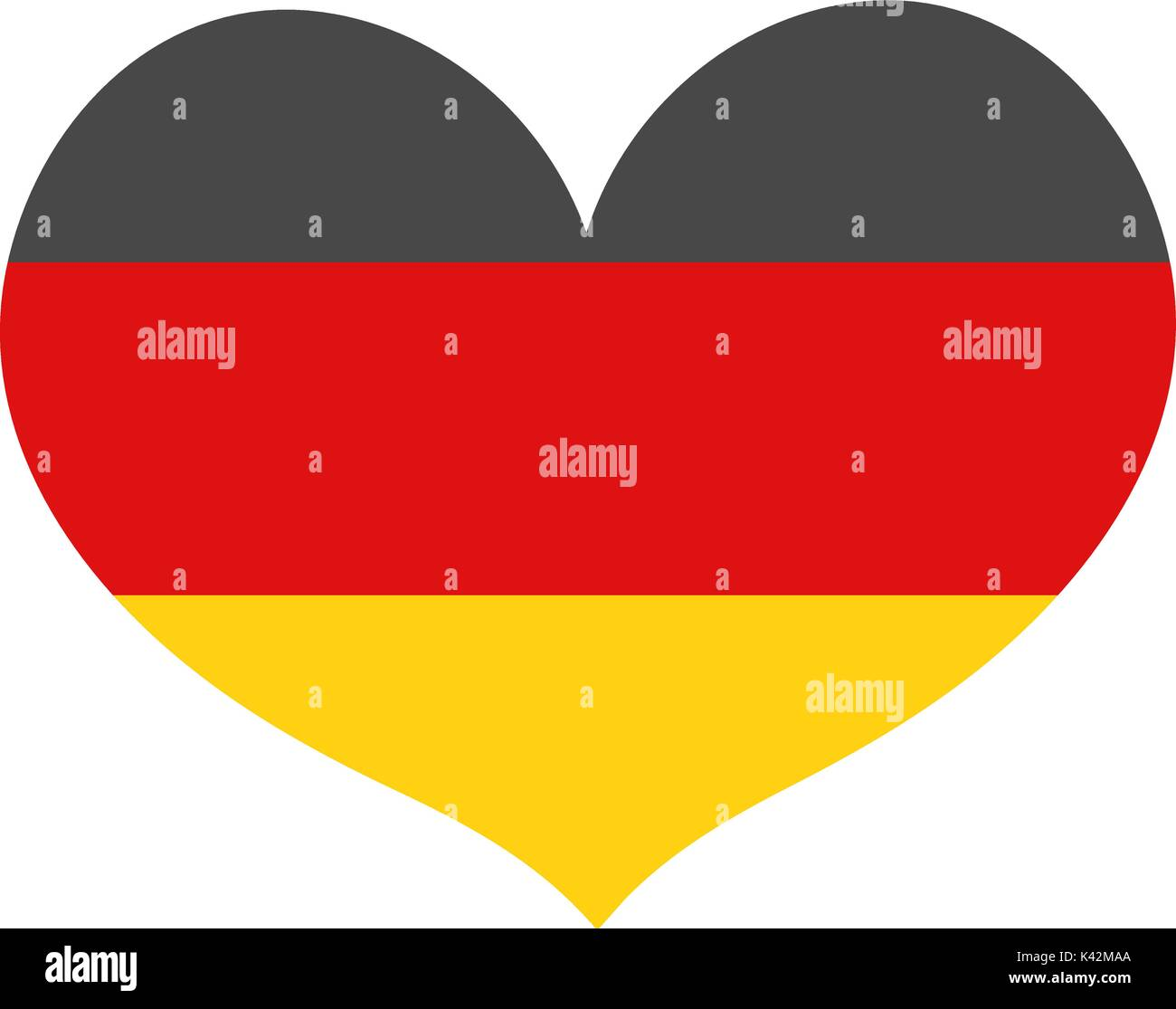 Flag of Germany in a heart shape icon flat style. Isolated on white background. Vector illustration. - Stock Vector