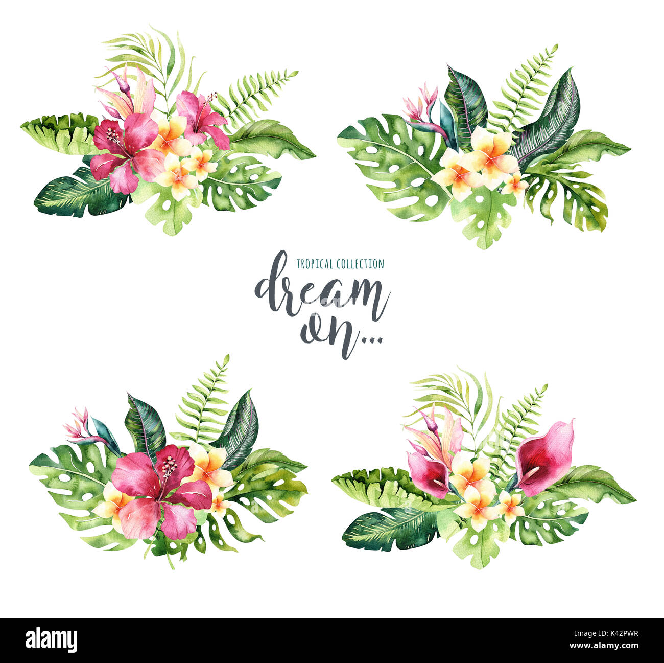 Hand drawn watercolor tropical flower bouquets exotic palm leaves hand drawn watercolor tropical flower bouquets exotic palm leaves jungle tree brazil tropic botany elements and flowers perfect for fabric design izmirmasajfo Images