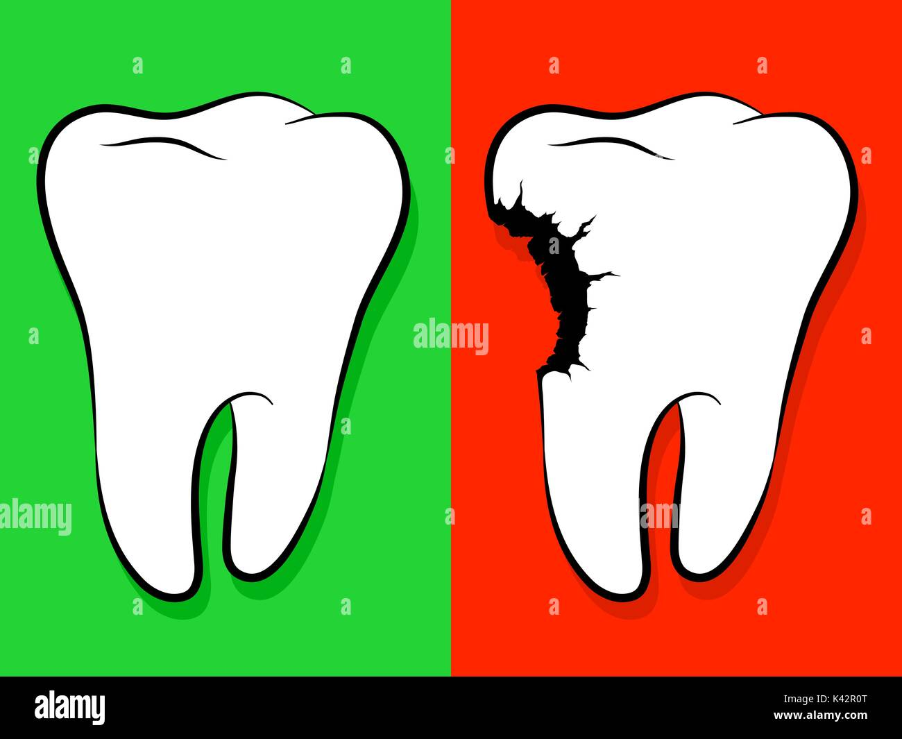 Healthy And Unhealthy Tooth Cartoon isolated on green for