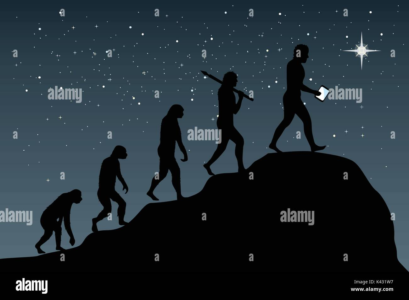 Human evolution into the present digital world. Business risk concept! - Stock Image