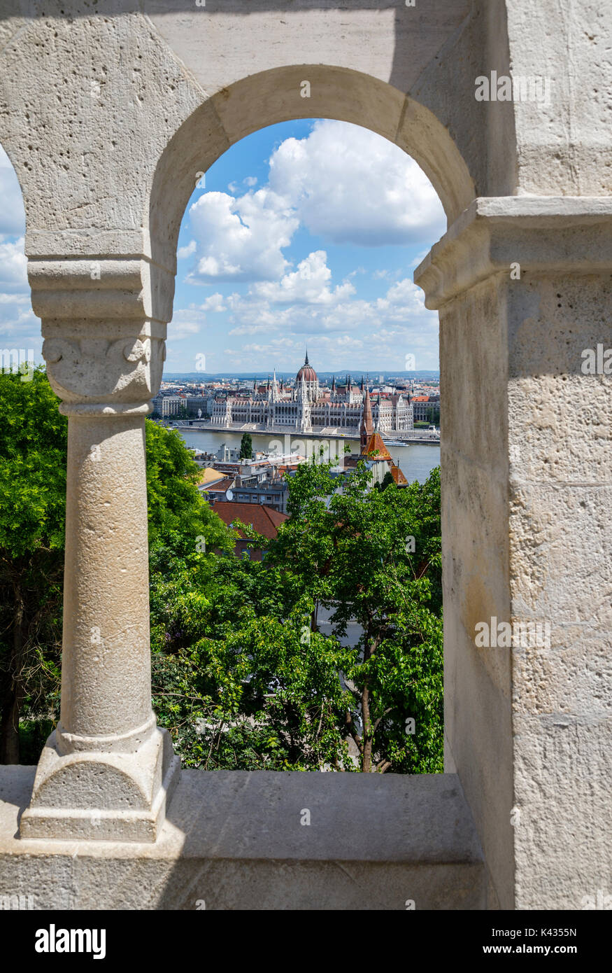 View of the Hungarian Parliament Building in Pest from the Fisherman's Bastion, Castle District, Buda, Budapest, capital of Hungary, central Europe - Stock Image