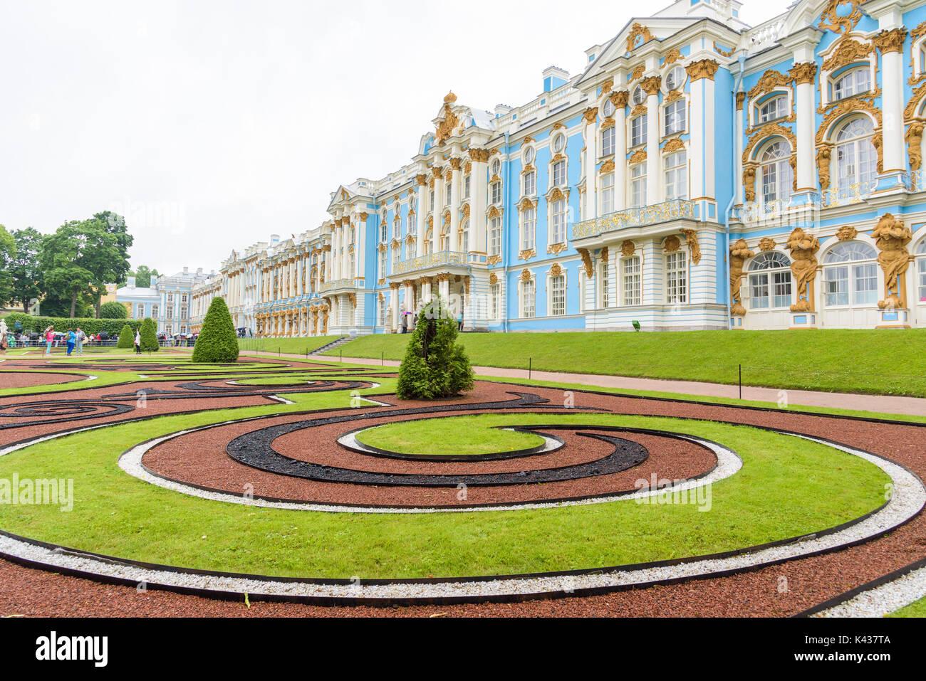 Catherine Palace, a Rococo palace in Tsarskoye Selo, Saint Petersburg, Russia - Stock Image