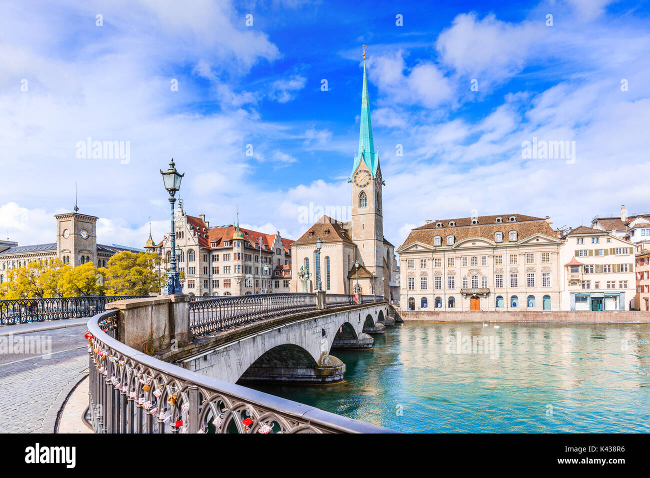 Zurich, Switzerland. View of the historic city center with famous Fraumunster Church, on the Limmat river. - Stock Image