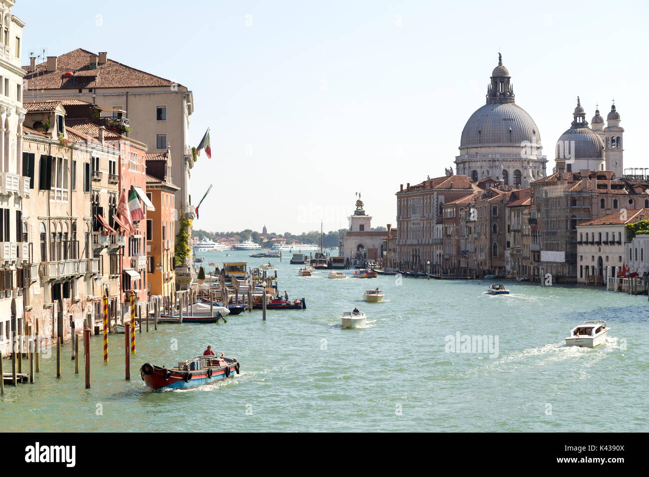 Italy, Venice, view from the Ponte Dell'Accademia down the Grand Canal towards the Basilica di Santa Maria della Stock Photo