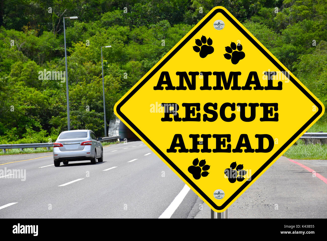 Animal rescue ahead warning sign for dangers that animals also face, and to remind us to lend a hand - Stock Image