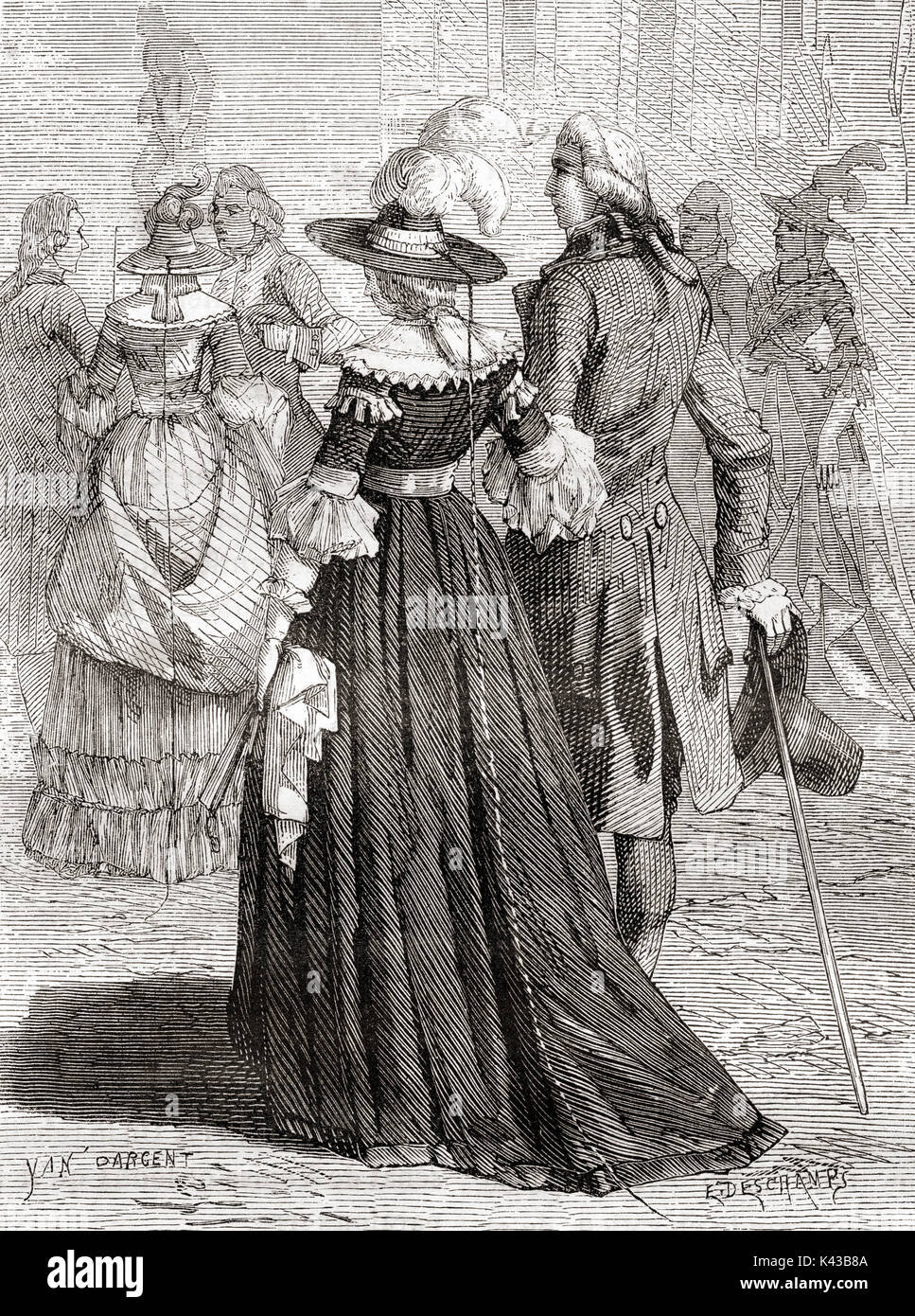 Parisien ladies wearing lightning rod hats, a fad in late eighteenth-century Europe, particularly Paris. The concept that inspired the fashion was that a lightning bolt would strike the protective device instead of the person, and the electricity would travel down a small metal chain into the ground harmlessly.   From Les Merveilles de la Science, published 1870. - Stock Image