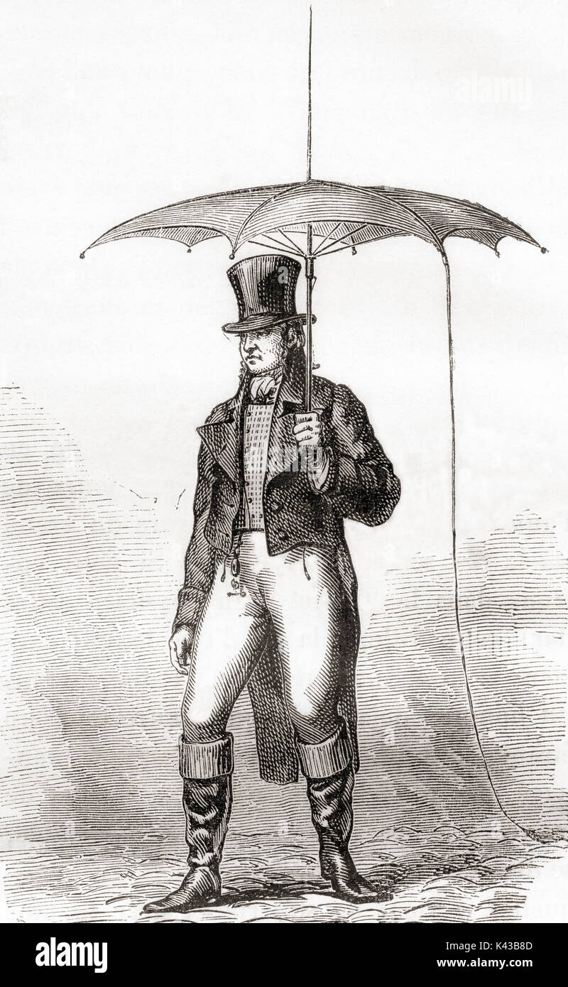A gentleman with a lightning rod umbrella, a fad in late eighteenth-century Europe particularly in Paris. The concept that inspired the fashion was that a lightning bolt would strike the Franklin-designed protective device instead of the person, and then the electricity would travel harmlessly down a small metal chain into the ground.    From Les Merveilles de la Science, published 1870. - Stock Image
