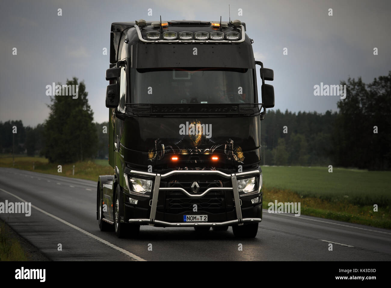 LUOPAJARVI, FINLAND - AUGUST 10, 2017: Renault Trucks T Ghostrider takes part in the truck convoy to the annual trucking event Power Truck Show 2017 i - Stock Image