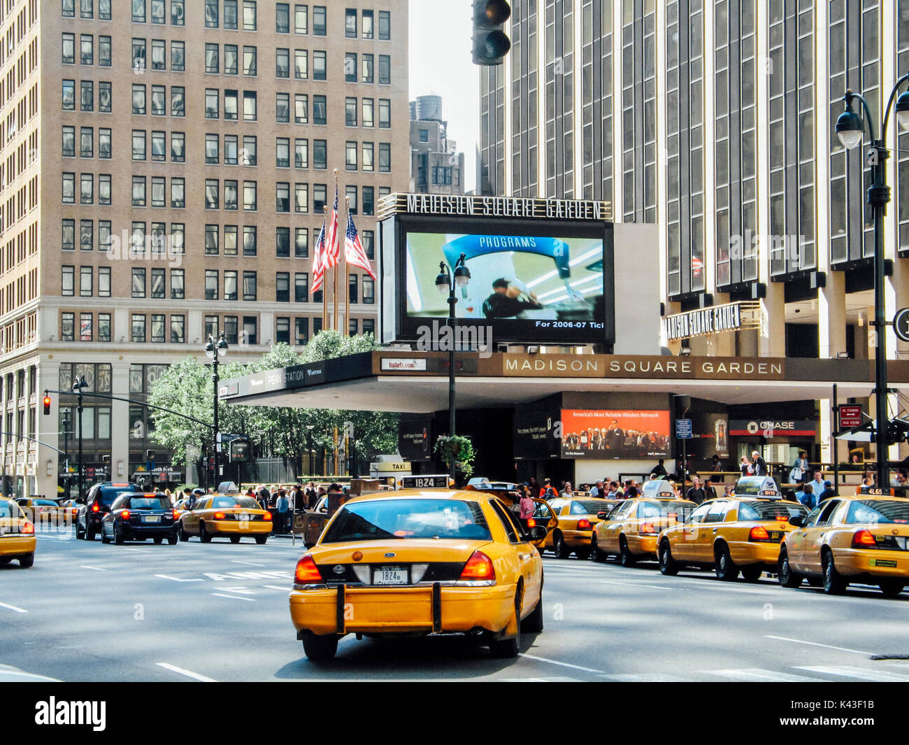 Traffic Taxis Outside Madison Square Garden Entrance On 7th