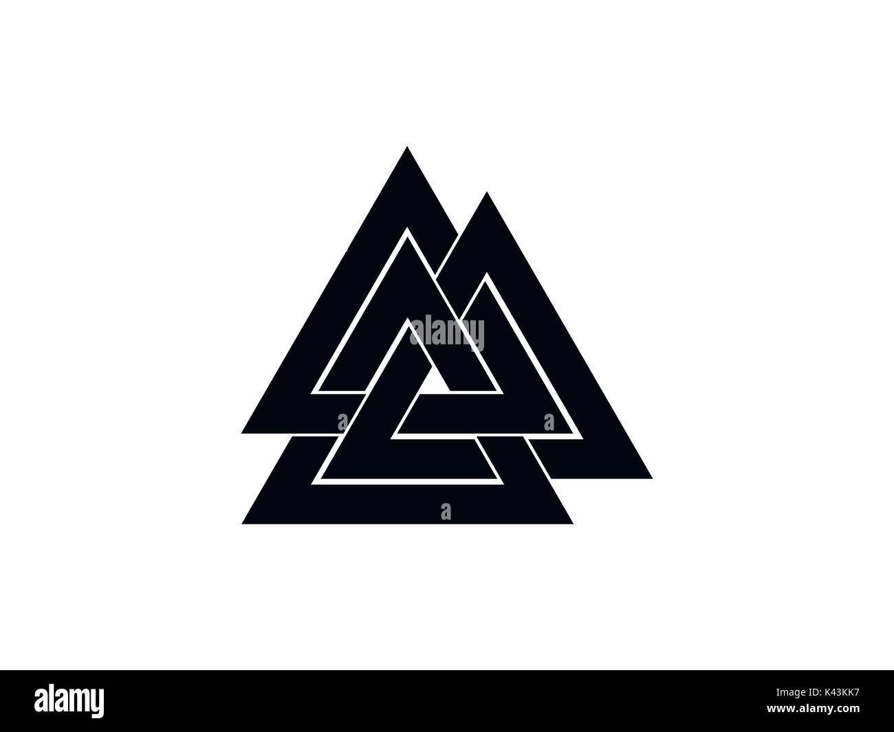 Valknut is a symbol of the world's end of the tree Yggdrasil. Sign of the god Odin. Norse culture. Triangle logo. Vector illustration - Stock Image