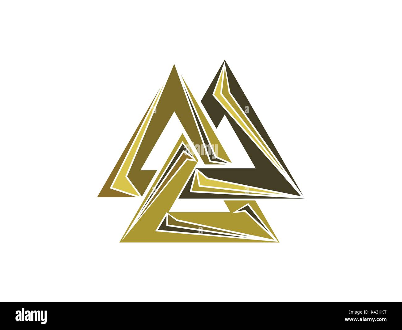 Valknut is a symbol of the world's end of the tree Yggdrasil. Sign of the god Odin. Norse culture. Triangle logo. Vector illustration - Stock Vector
