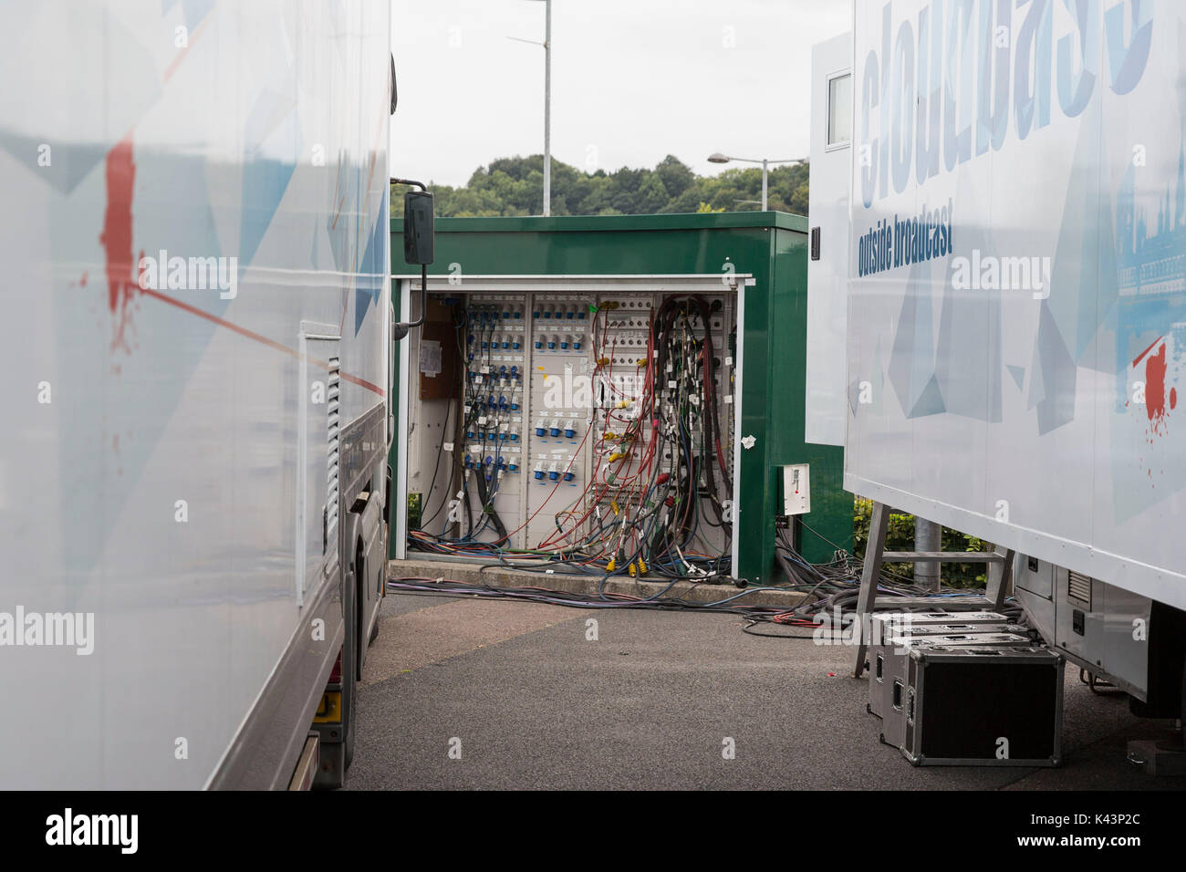 An electric unit serving outside broadcast vehicles at Cardiff City Stadium ahead of a World Cup 2018 qualification Stock Photo