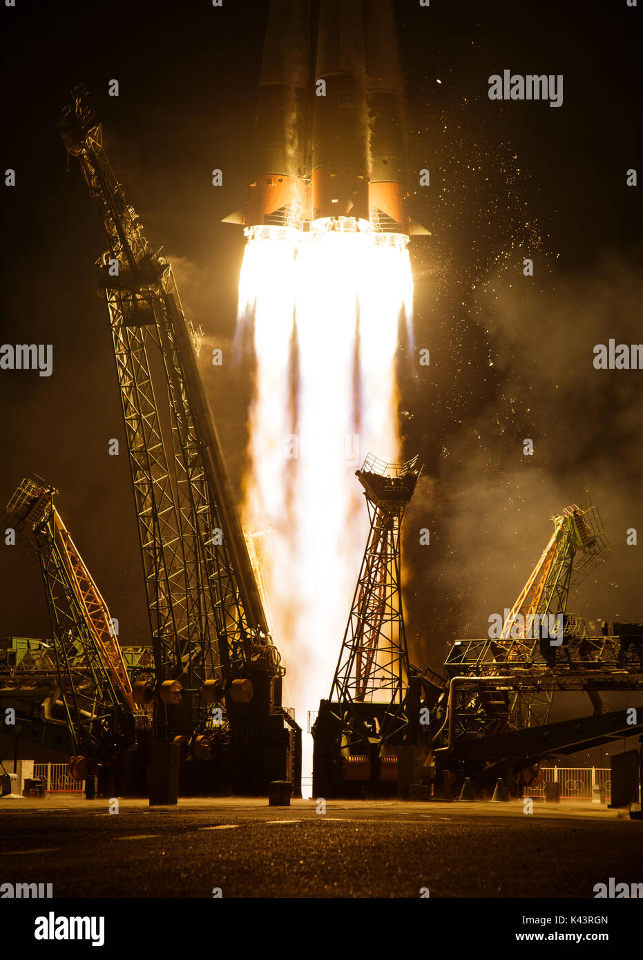 The Soyuz MS-05 spacecraft launches to the NASA International Space Station for Expedition 52 at the Baikonur Cosmodrome July 28, 2017 in Baikonur, Kazakhstan.  (photo by Joel Kowsky  via Planetpix) - Stock Image
