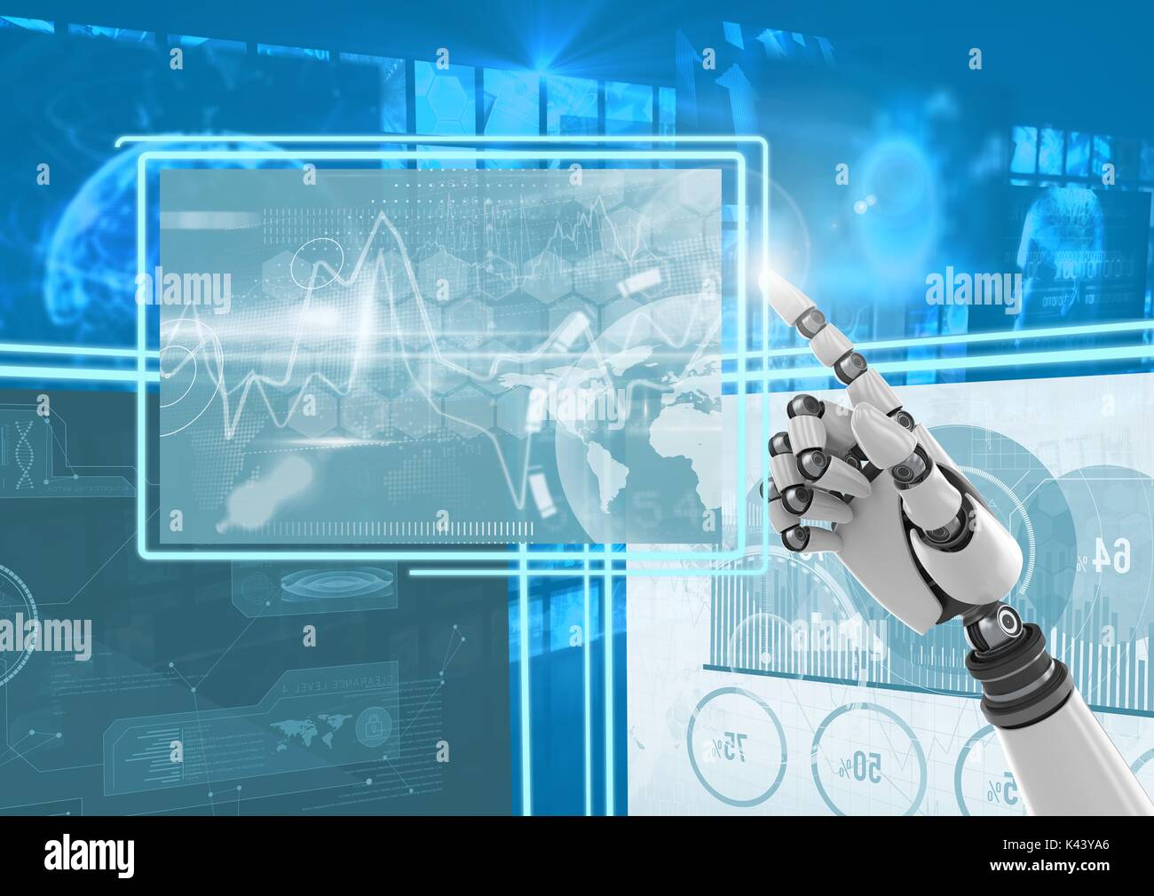 Digital composite of Robot hand interacting with technology