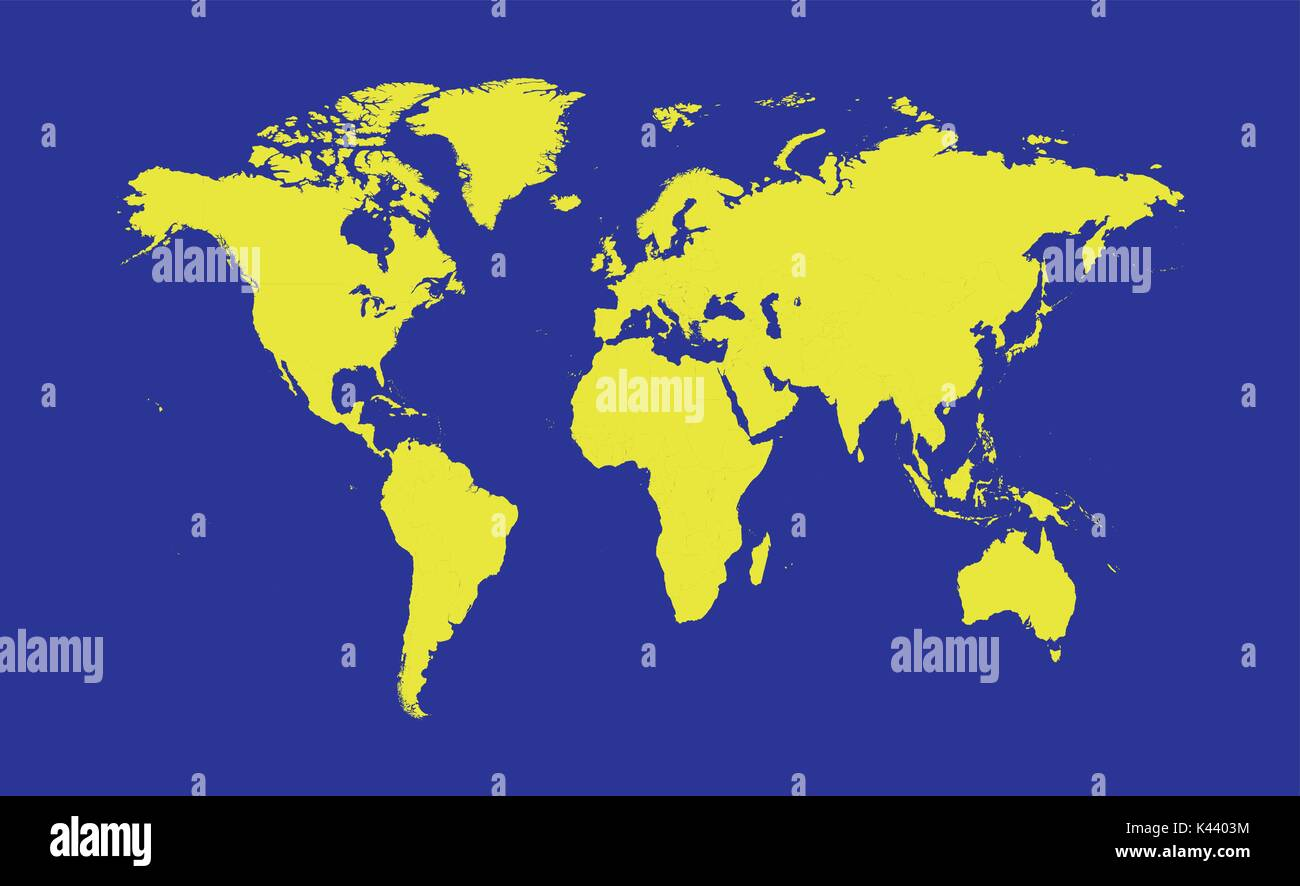 World map yellow color - Stock Vector