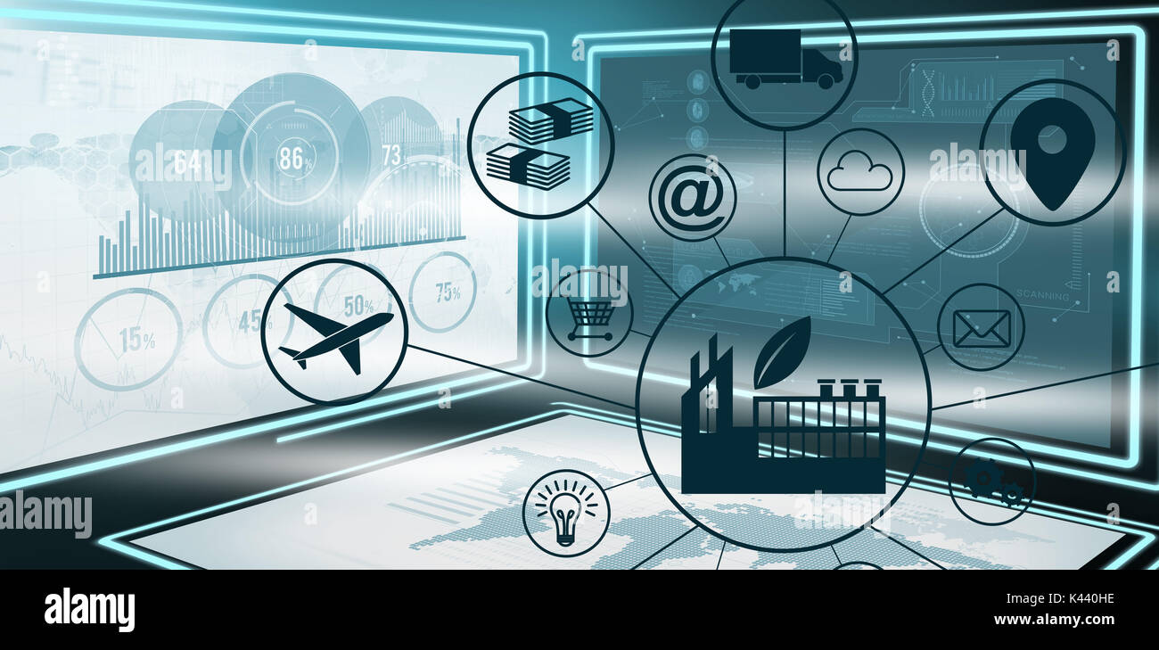 Composite image of industry amidst various icons against graphic image of business growth charts in 3d - Stock Image