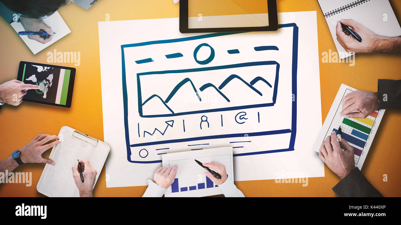 Business meeting against handdrawn illustrate website Stock Photo