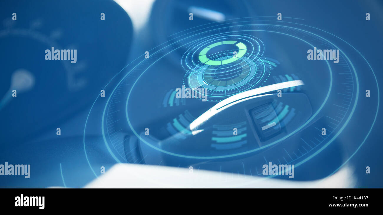 Digitally generated image of volume knob with digital interface against cropped image of lever in car Stock Photo