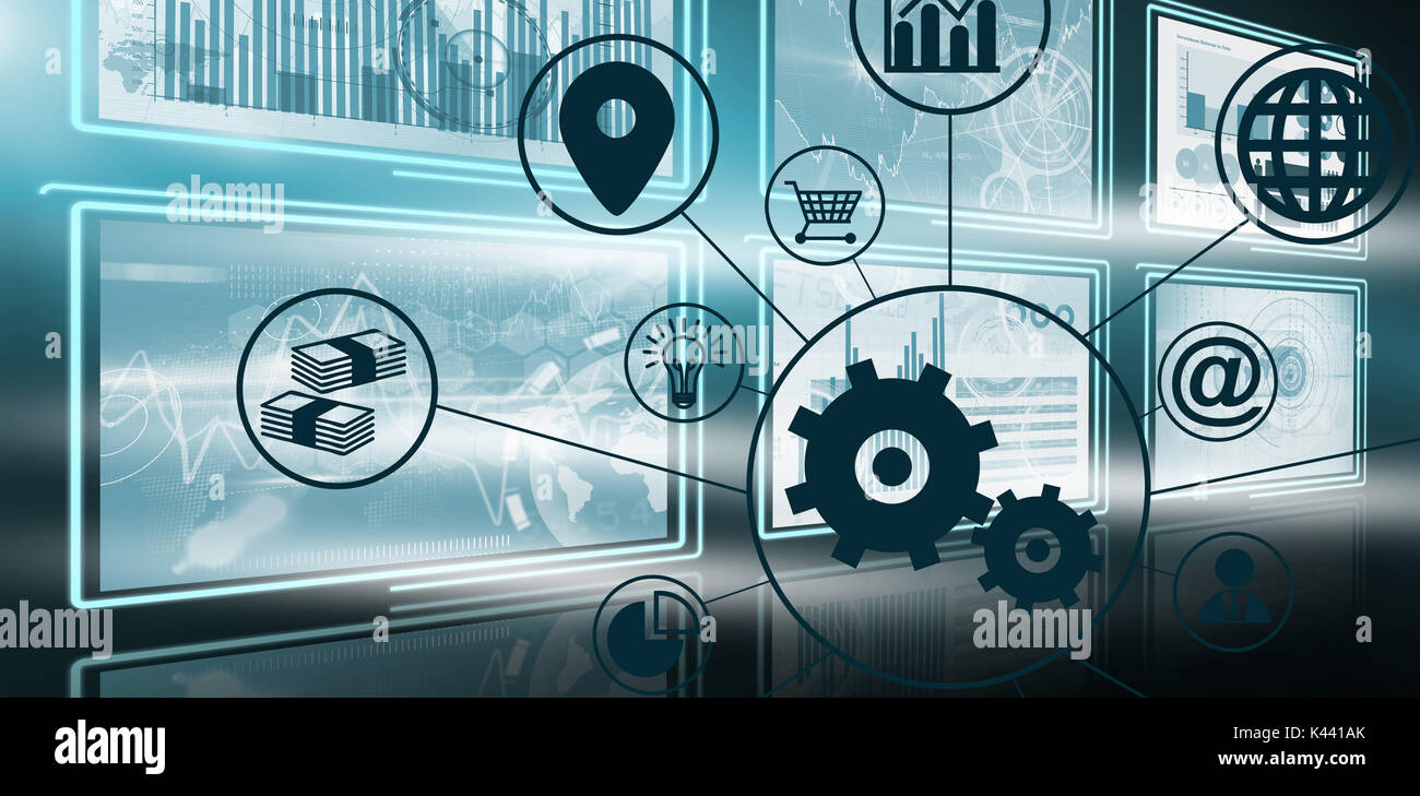 Composite image of gears amidst various icons against vector image of business growth charts in 3d - Stock Image