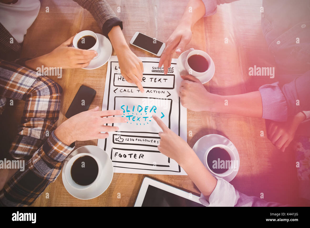 Illustration of website against friends discussing and drinking coffee - Stock Image