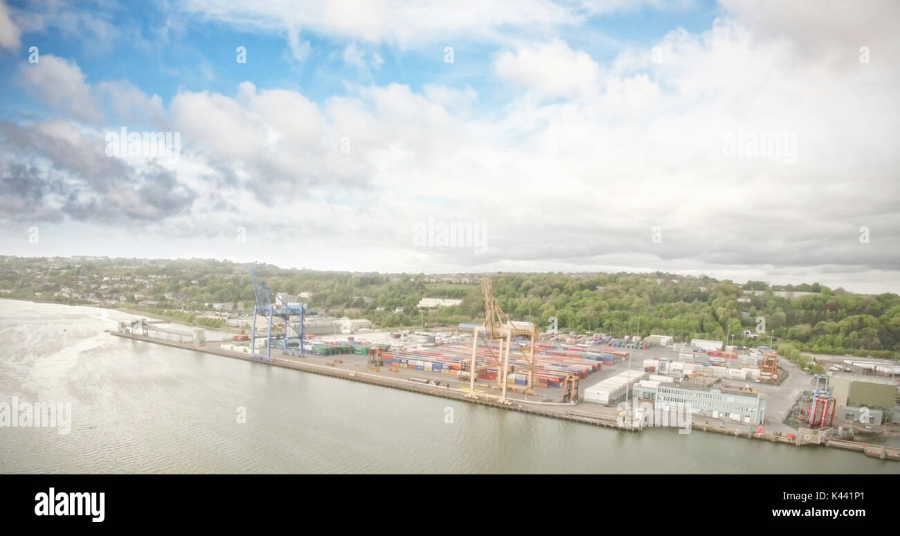High angle view of commercial dock by sea - Stock Image