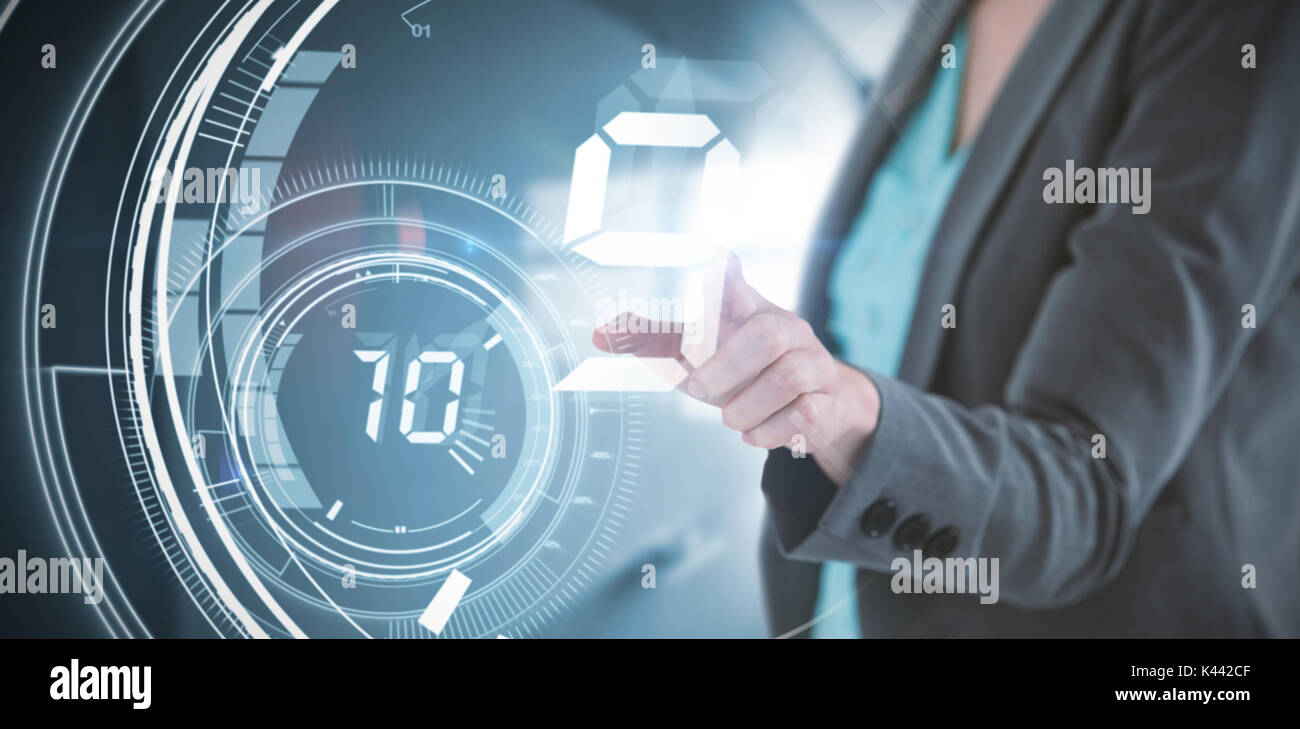 Businesswoman touching invisible digital screen against interface dial countdown with timer in blue background Stock Photo