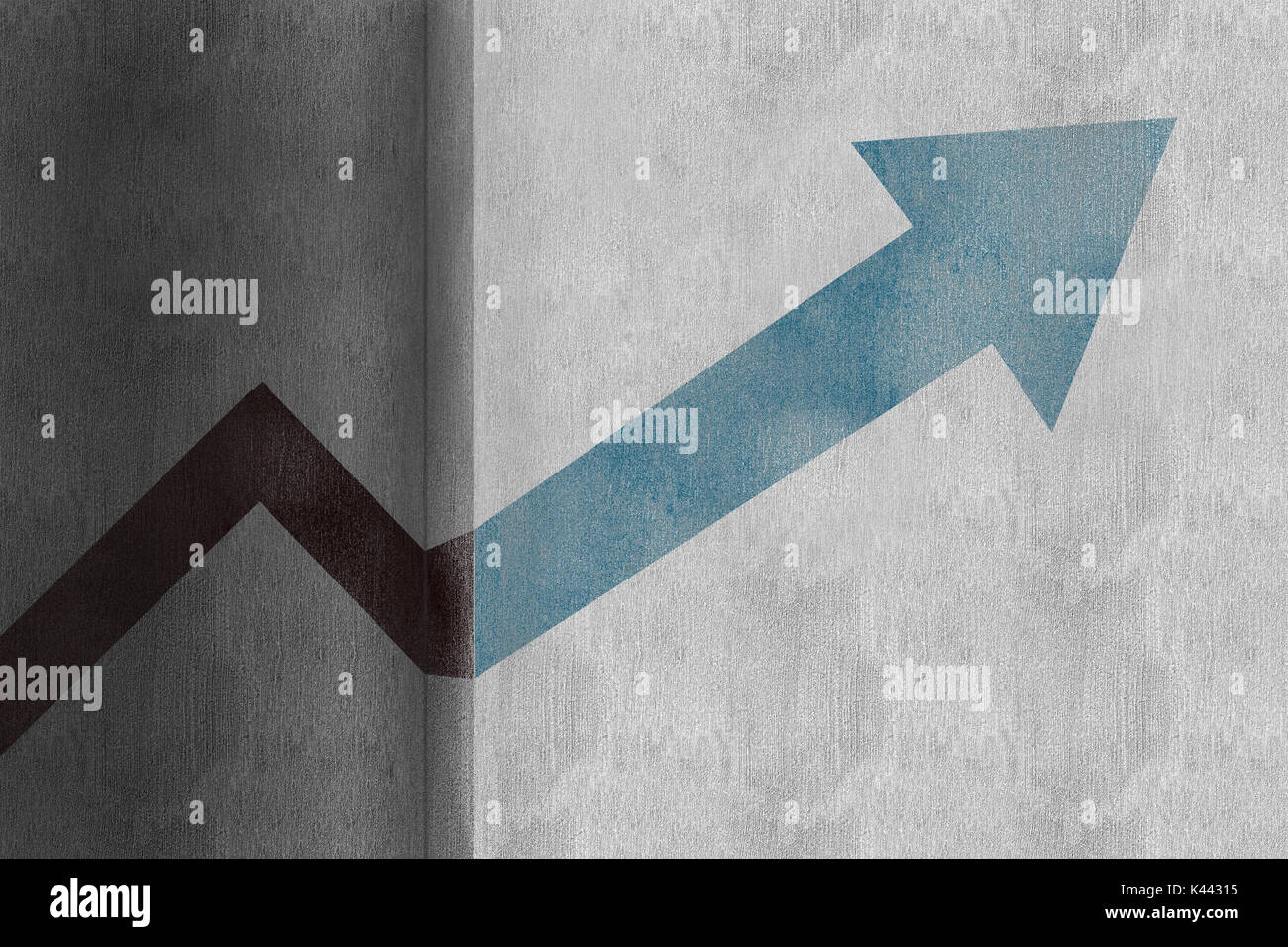 Vector illustration of arrow  against full frame shot of steps and staircases - Stock Image