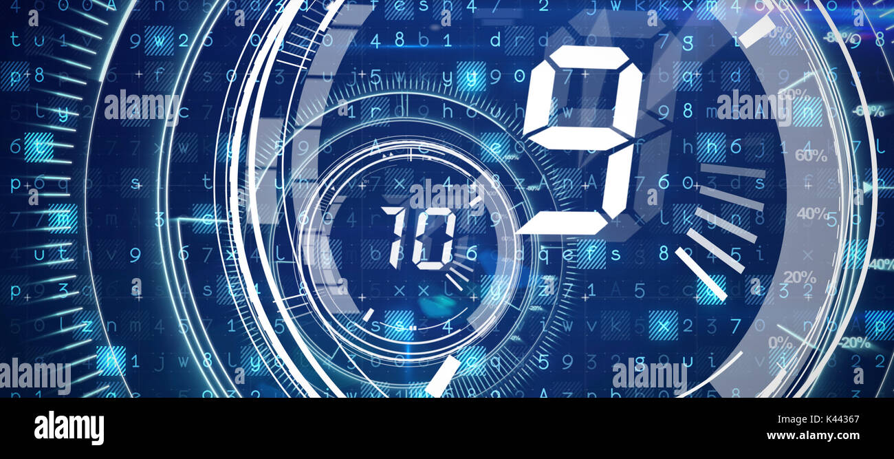 Virus background against interface dial countdown with timer