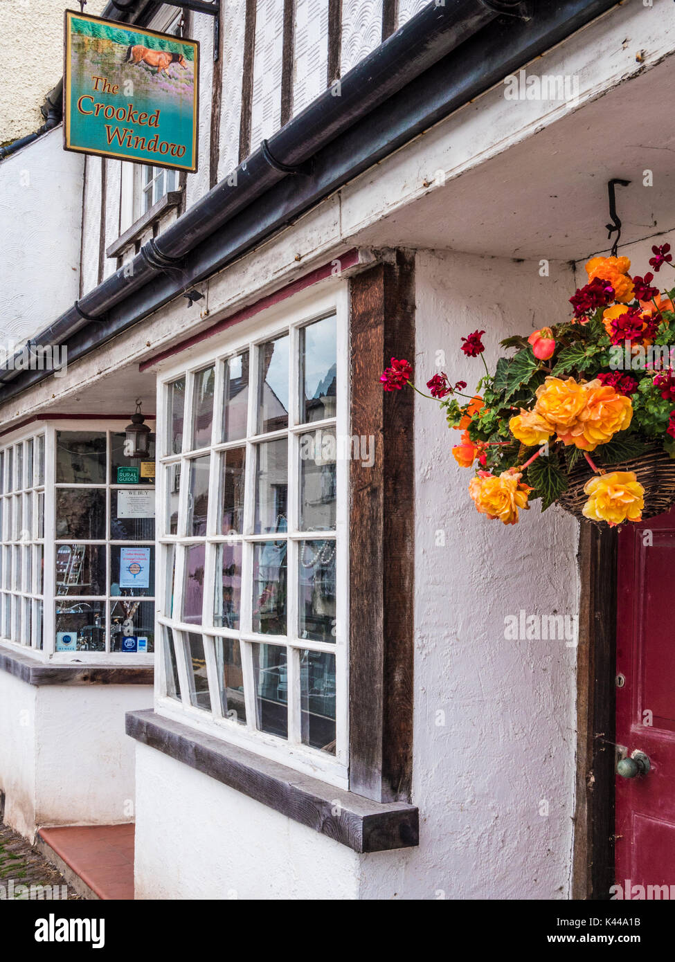 The Crooked Window, an art gallery in Dunster near Minehead, Somerset. - Stock Image