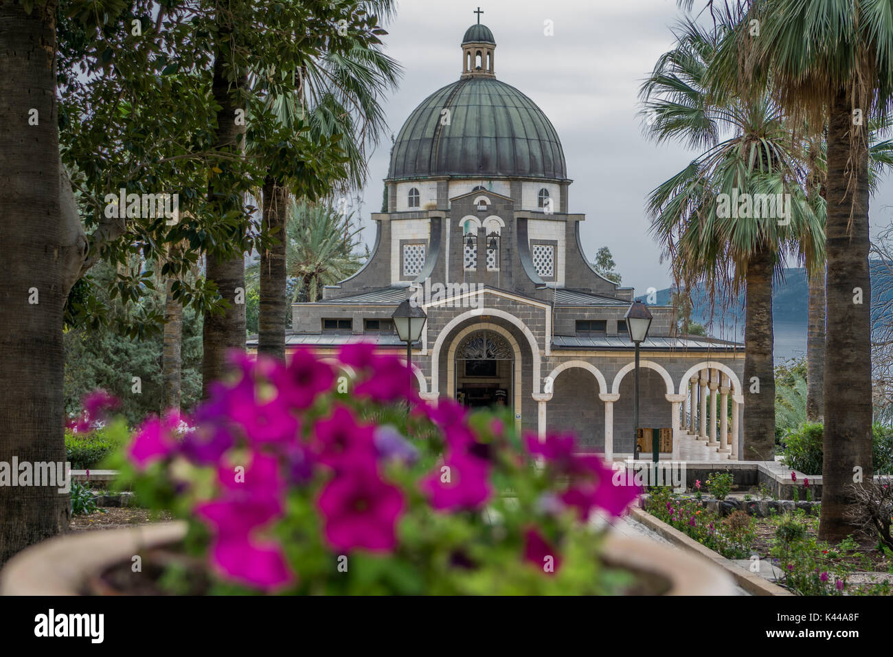 Temple of beatitudes with flowers Stock Photo