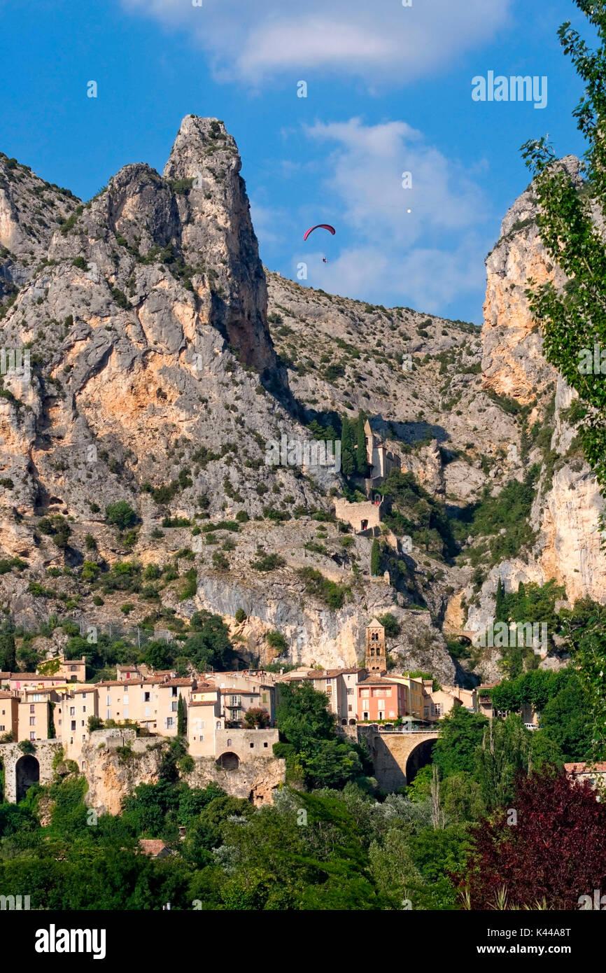 Europe, France, Verdon region, Moustiers Sainte-Marie village. Stock Photo